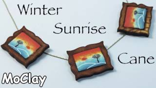 Polymer clay Sunrise landscape cane - DIY necklace jewelry