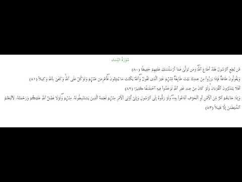 SURAH AN-NISA #AYAT 80-83: 12th May 2020