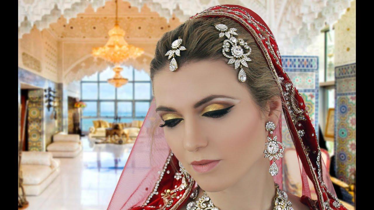 traditional indian pakistani asian gold bridal makeup