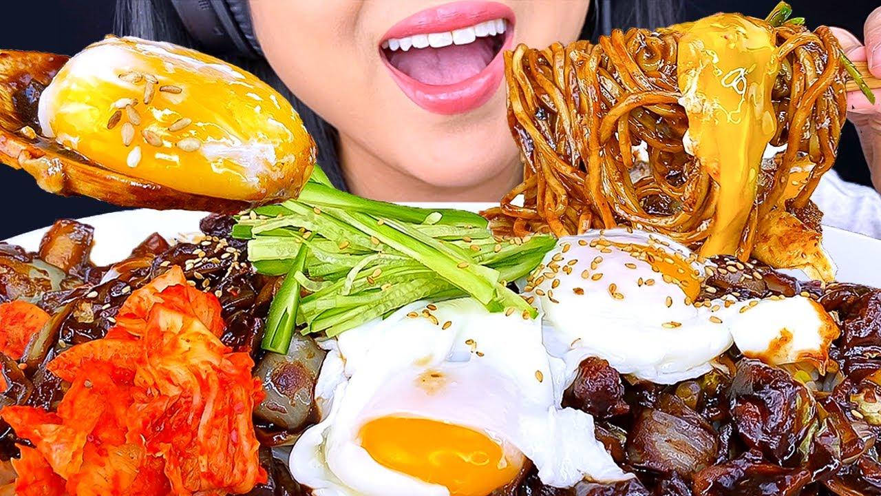 ASMR BLACK BEAN NOODLES JAJANGMYEON 자장면 MUKBANG | REAL EATING SOUNDS | ASMR Phan
