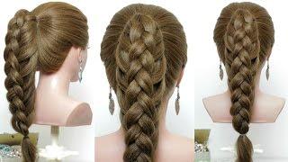 Easy hairstyle for long hair tutorial. Cute Braid