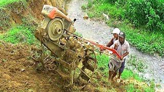 Wahh.. Ampun... NEKAT...!! Sopir Traktor Sawah Menuruni Tebing Terjal (Woow.... crazy tractor...!!)