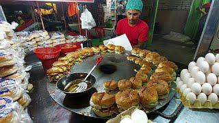 Smart Young Boy MAKING BURGER | Super Fast Cooking Skills | Egg Anda Bun Kabab Street Food.
