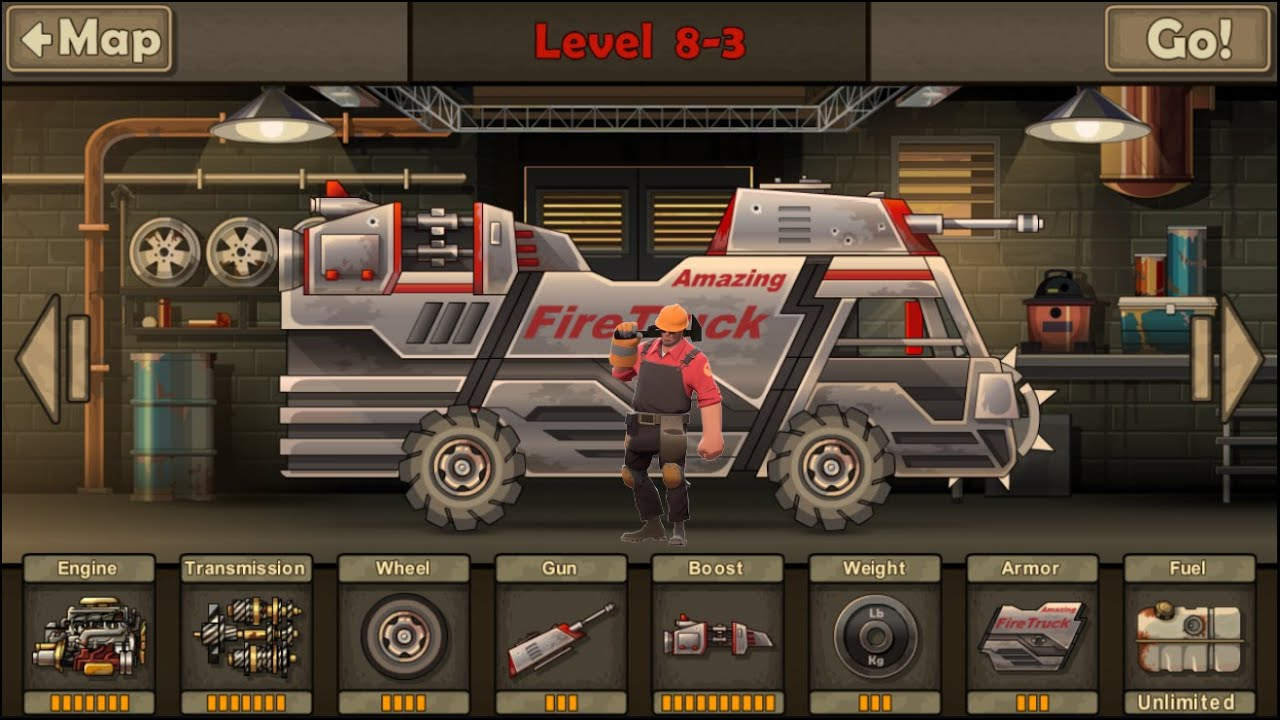 earn to die 2 9th car fire truck fully upgraded youtube
