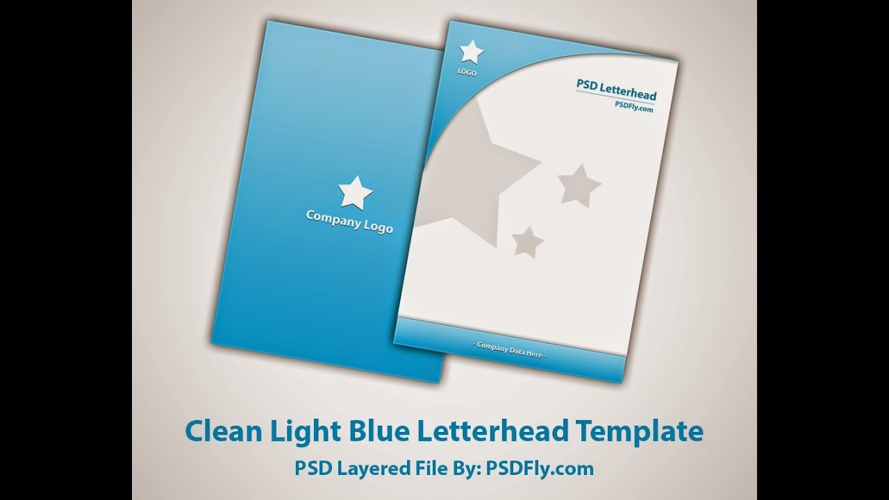 Clean light blue letterhead template youtube spiritdancerdesigns Image collections