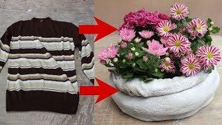 DIY Blumentopf aus einem Pulli / DIY Flower pot made of a sweater