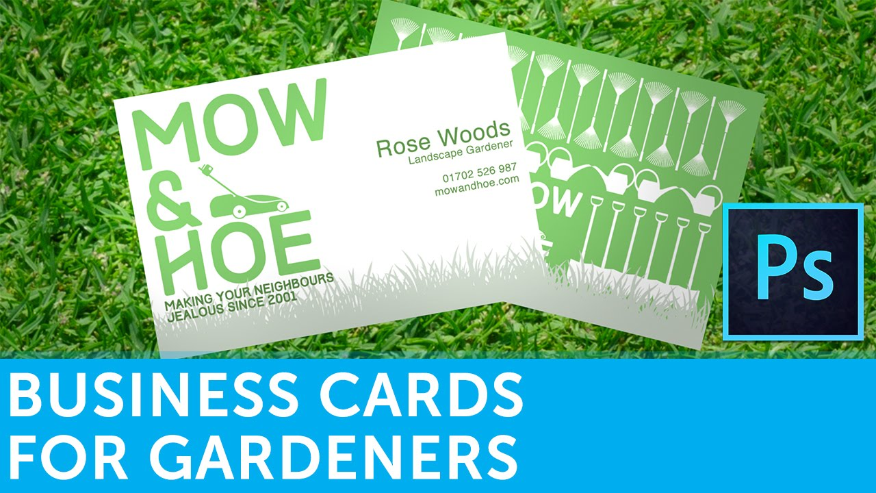 How To Design A Landscape Gardener Business Card In Adobe Photoshop - Landscaping business card template