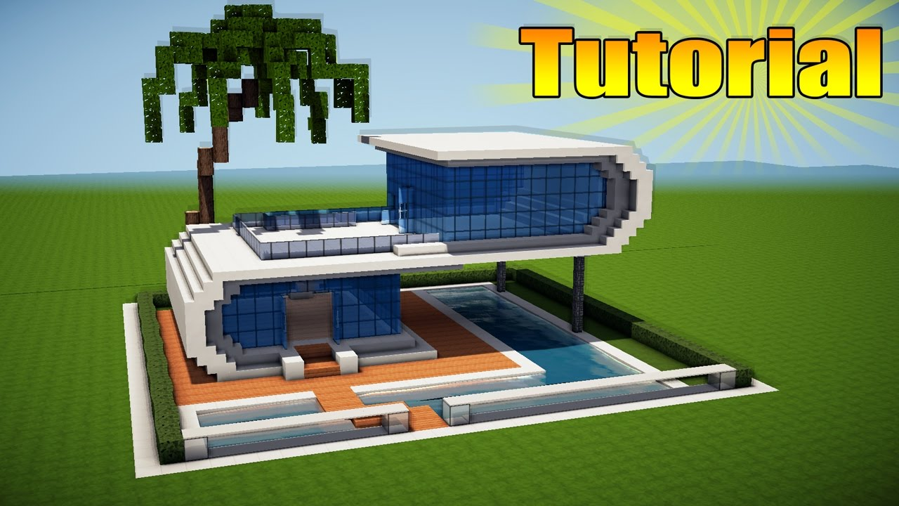 Minecraft modern beach house tutorial how to build a for Big modern houses on minecraft