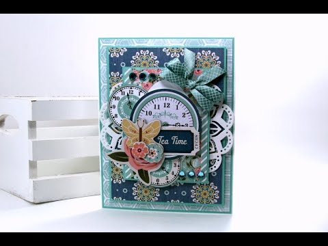 Tea Time Vintage Greeting Card BoBunny Polly's Paper Studio Tutorial Process DIY How To