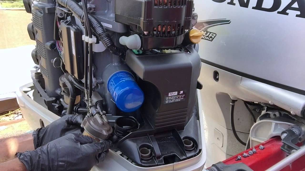 Honda 225 Outboard  Replace HighLow Pressure Fuel Filters and Spark Plugs  YouTube