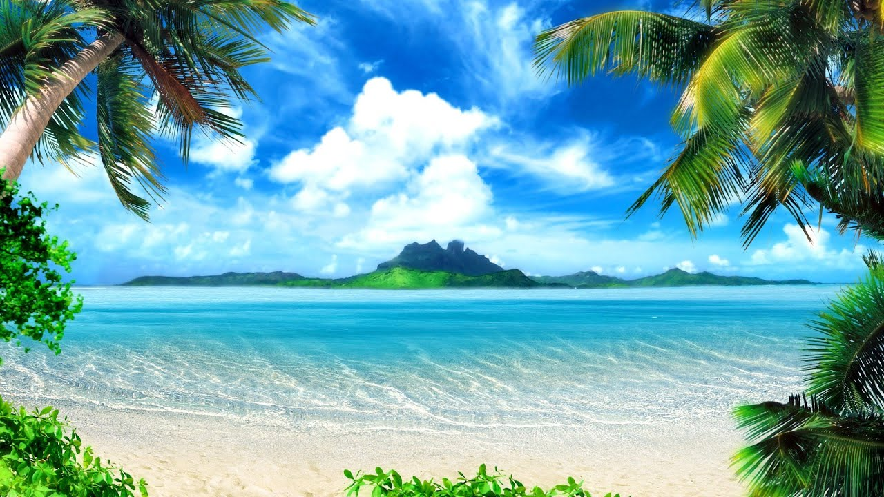Tropical Island Beach Ambience Sound: 10 Hours Ocean Waves Healing Tranqil Sounds For