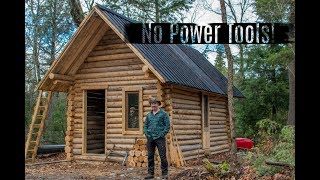 Man Builds off Grid Cabin Alone in the Forest with Hand Tools.