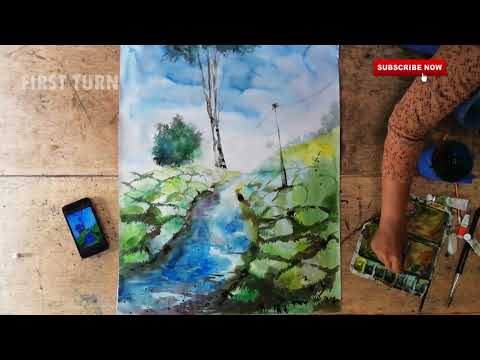 Watercolour Techniques Tutorial | landscape (Speedpaint)