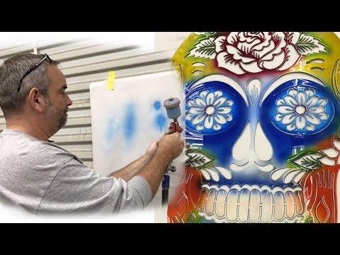 Cheap Paint Gun Doing BEAUTIFUL Airbrush Paint Job!! - DIY SUGAR SKULL