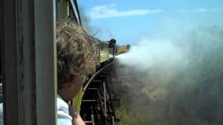 ★ Sugar Cane Train  - real steam engine blowdown over bridge