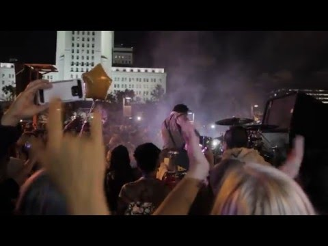 Drummer on a Truck Rocks Out To Purple Rain at LA Prince Tribute