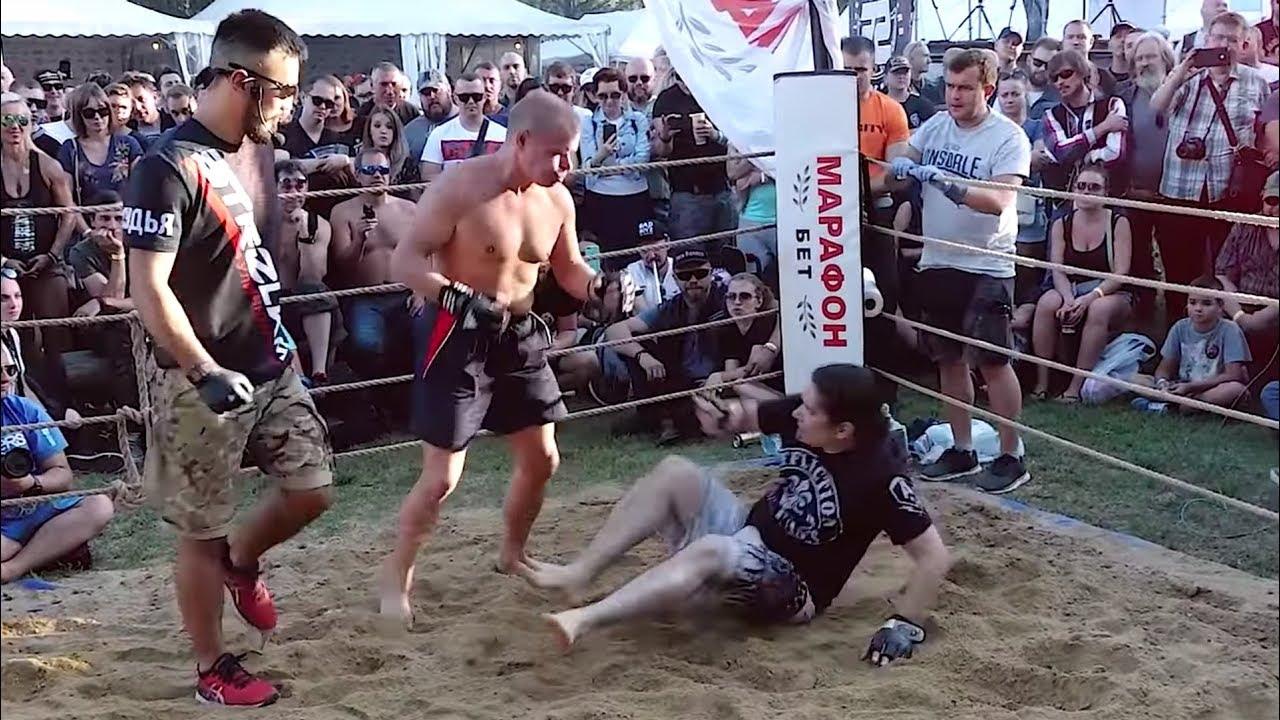 СТАРЫЙ ДЕД  валит бойцов в ринге !!!