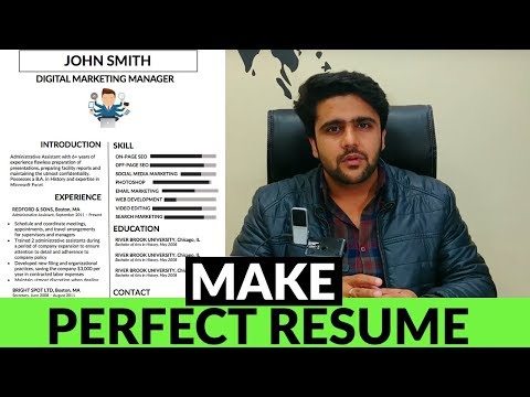 The Perfect Resume | How To Make A Perfect Resume | Infographics Resume |Free Resume Template|Hindi