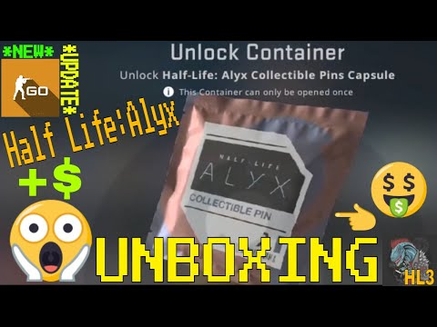 CS:GO UPDATE UNBOXING HALF LIFE : ALYX (3) PIN,STICKERS U0026 PATCH PACKS!