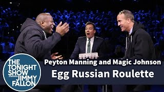 Egg Russian Roulette with Peyton Manning and Magic Johnson(Magic Johnson and Peyton Manning take turns smashing eggs on their heads without knowing which are cooked and which are raw. Subscribe NOW to The ..., 2016-02-11T05:28:10.000Z)