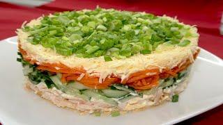 Ну Очень Новогодний Салат! Салат с копченой курицей и корейской морковью на новогодний стол