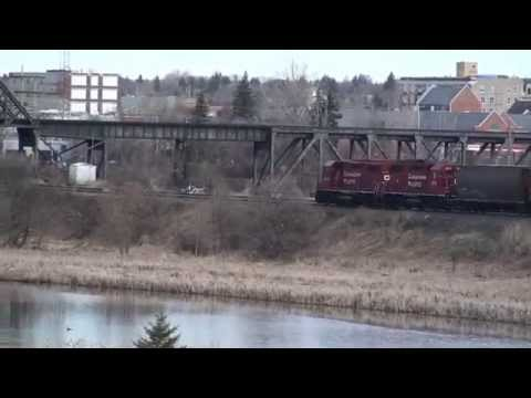 CN & CP freight trains in Moose Jaw SK May 2014