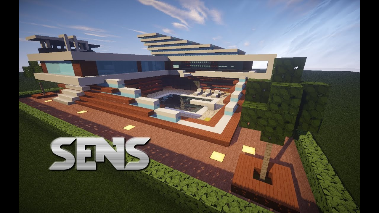 Modern Minecraft House Wood Quartz and a Swimming Pool YouTube