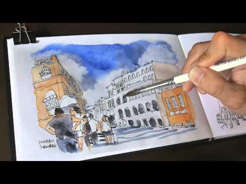Sketch of Senado Square in Macau