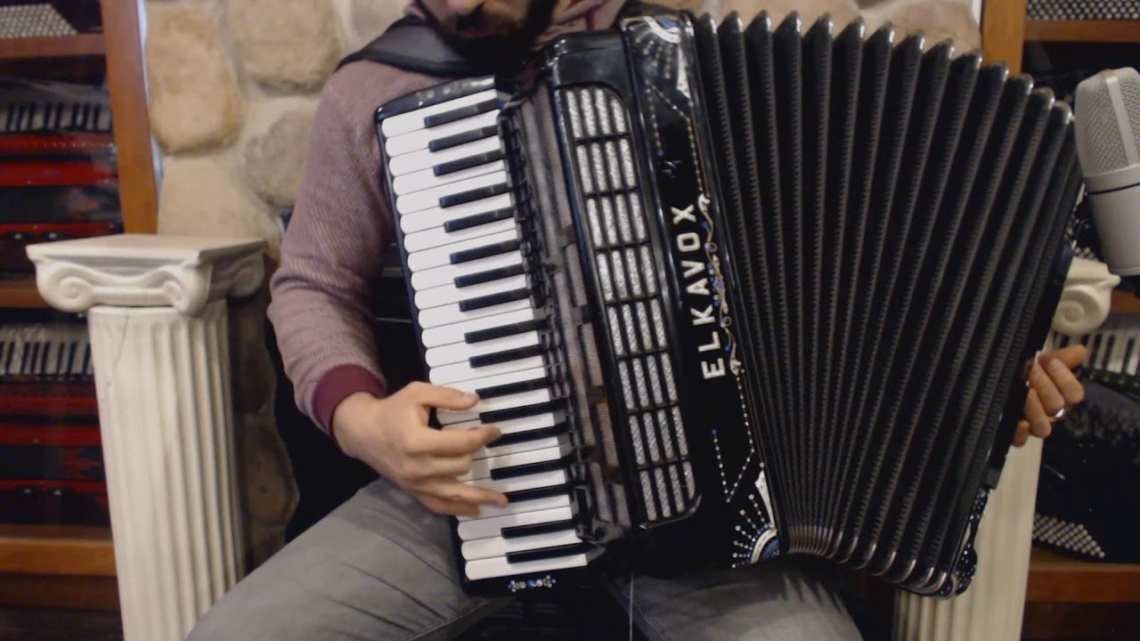 2166 - Decorated Black Elkavox H Series Piano Accordion LMMM 41 120 $1499