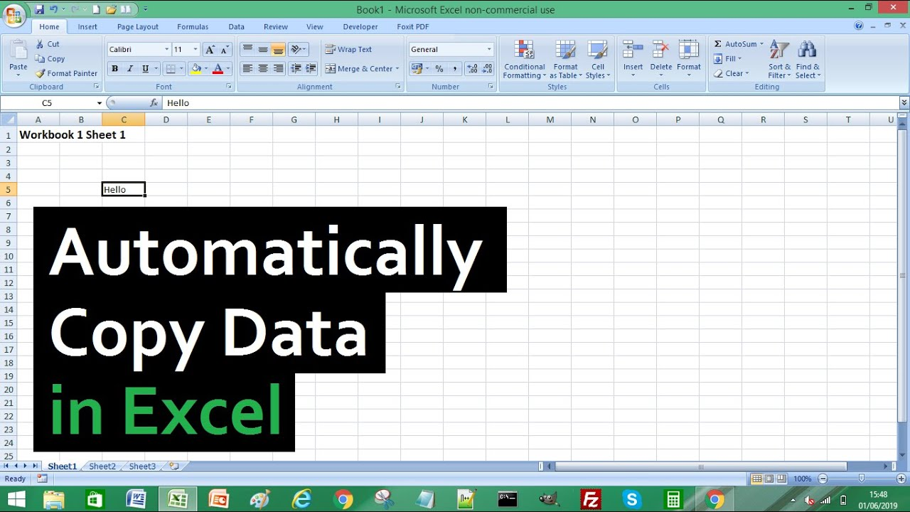 excel tutorial how to automatically copy data from one excel worksheet to another youtube. Black Bedroom Furniture Sets. Home Design Ideas