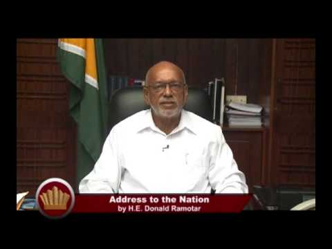 President Donald Ramotar's address to the nation following his decision to prorogate Parliament