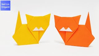 Easy Origami Cat Tutorial  How to make a cute cat