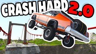 HUGE JUMP OVER BROKEN BRIDGE! CRASH HARD 2.0! - BeamNG Drive Crash Hard 2.0 Map Mod
