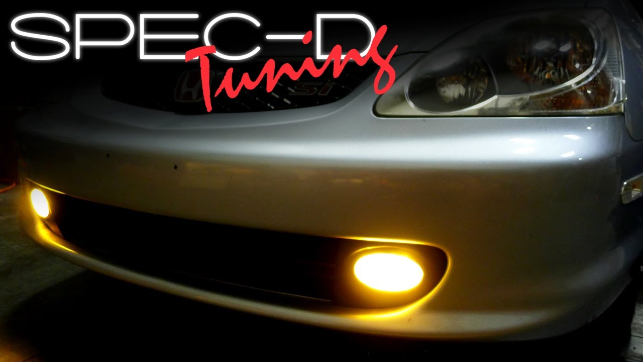 specdtuning installation video: 2002 - 2005 honda civic si hatchback fog  lights - youtube