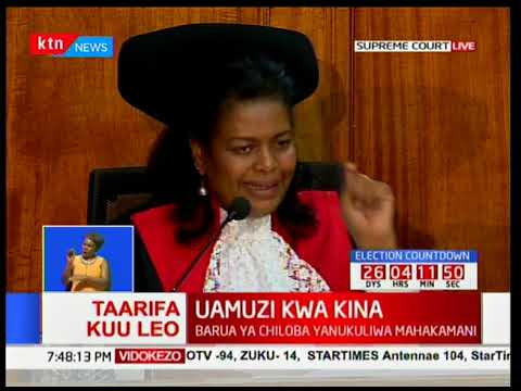 Justice Njoki Ndung'u gives her full judgment on the Supreme Court petition