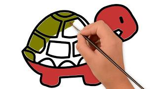 Tortoise Coloring Pages for Kids | Easy way to Draw Tortoise Step by Step
