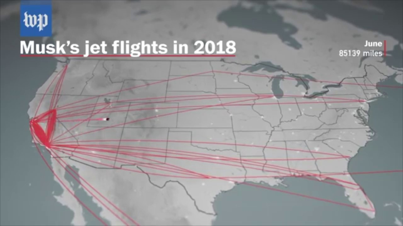 Elon Musk\'s jet flights 2018 With Pinball Effects