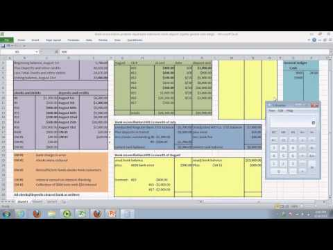 Bank reconciliation and journal entries and cash ledger default