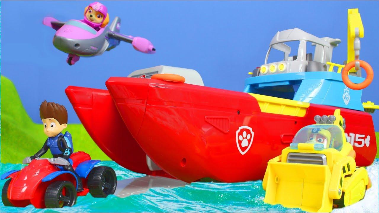Paw Patrol Unboxing Sea Patroller Feuerwehrmann Marshall Ryder Chase Rubble Für Kinder