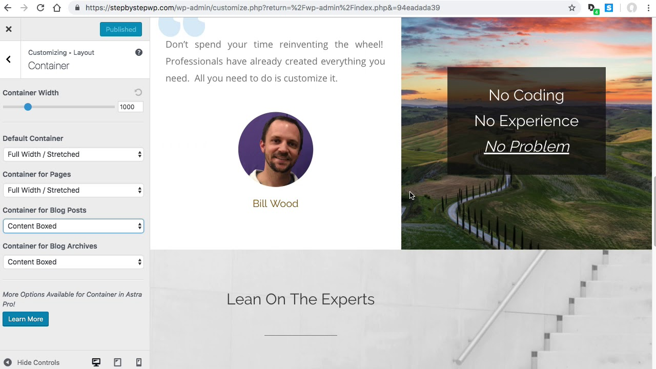 Wordpress Elementor Astra Full Width Background For Any Page Or Blog Post Youtube