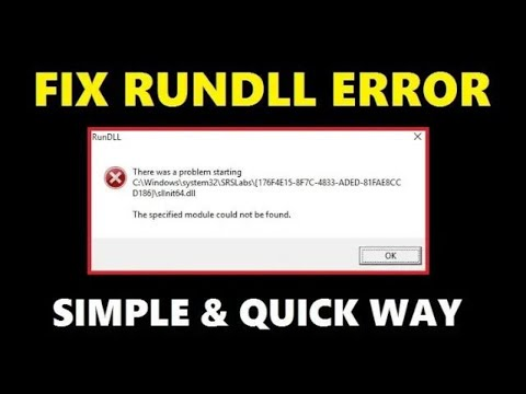 How To Fix RunDLL Error In Windows 10/8/7 PC Or Laptop   Easily & Quick