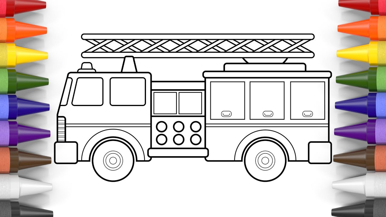 how to draw a fire truck coloring pages for kids  art