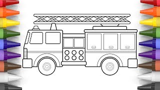 How to Draw a Fire Truck Coloring Pages for Kids | Art Colors for Children | How to Draw