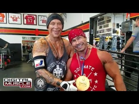 Hollywood Legend Mickey Rourke and Bodybuilding Champ Danny Hester Train at Gold's Venice