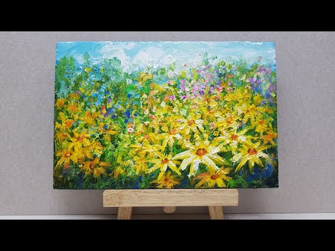 How to painting Landscape / For Beginners / Relaxing / Acrylics / 아크릴-풍경화-꽃 그리기/39