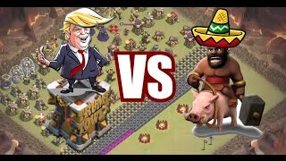 Clash of Clans - Funny base attacking, the great wall of Trump