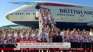 Rio 2016 Great Britain Olympic Team Fly home on a Gold nosed Jumbo Jet  FULL Report