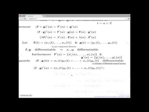 Week 1 Lecture 2 -- Derivative of curves, properties and interpretations