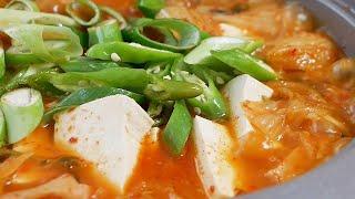 Spam Tofu Kimchi Stew - Korean Cooking ASMR