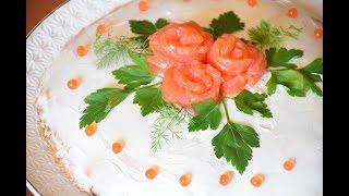 Блинный торт с красной рыбой